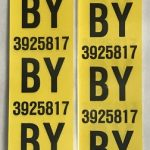 This is an image of a pair of 1967 Camaro Z28 Rear Leaf Spring Tag Tape Decal, BY