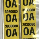 This is an image of a pair of 1968 Camaro Z28 Rear Leaf Spring Tag Tape Decal, OA