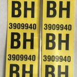 This is an image of a pair of 1968 Camaro SS 350 Rear Leaf Spring Tag Tape Decal, BH