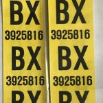 This is an image of a pair of 1968 Camaro 327/350 Rear Leaf Spring Tag Tape Decal, BX