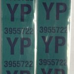 This is an image of a pair of 1969 Camaro SS 396/427 Front Coil Spring Tag Tape Decal, YP