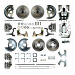 """This is an image of a 1967-69 Camaro 4 wheel disc brake conversion kit with 8"""" chrome booster"""