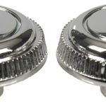 This is an image of a pair of 1967-68 Camaro radio knobs, chrome outer