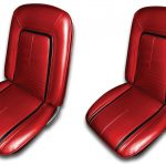 This is an image of a pair of 1967 Camaro deluxe front bucket seat covers