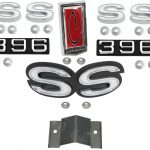 This is an image of a 1972 Camaro SS 396 Emblem Kit, For Cars With Rear Spoiler