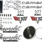 This is an image of a 1967 Camaro RS 327 Emblem Kit With Gas Cap made of GM Licensed and Show quality parts