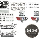 This is an image of a 1967 Camaro SS 350 Emblem Kit With Gas Cap made of GM licensed and show quality emblems