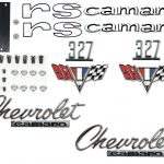 This is an image of a 1967 Camaro RS Emblem Kit made with GM licensed and show quality emblems.