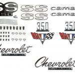 This is an image of a 1967 Camaro SS 350 Emblem Kit made with GM Licensed and show quality emblems