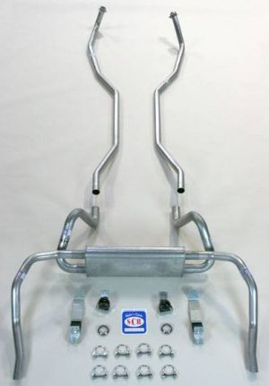 This is an image of a 1969 Camaro Exhaust System, Factory Style, Small Block, 2 Inch made from aluminized or stainless steel