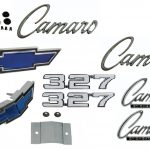 This is an image of 1969 Camaro Standard 327 Emblem Kit made of GM licensed or show quality emblems