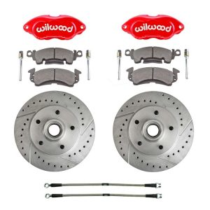 This is an image of a Camaro & Firebird Performance disc brake kit with Wilwood calipers and drilled & slotted rotors