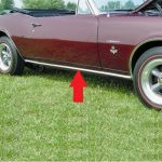 This is an image of a 1967-69 Camaro Lower Rocker Panel Spear Molding