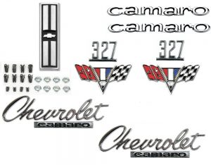 This is an image of a 1967 Camaro Standard 327 Emblem Kit