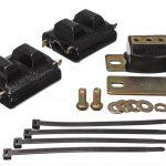 This is an image of a black 1973-81 Camaro polyurethane engine & transmission mount set