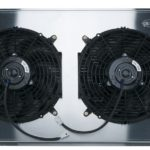 This is an image of a 1970-81 Camaro Or Firebird LS Swap COLD CASE Aluminum Performance Radiator With Fans