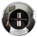 This is an image of a 1967 Camaro Replacement Chrome Steering Wheel Horn Cap, GM Licensed