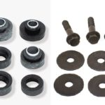 This is an image of a 1973-81 Camaro and 1973-75 Firebird / Trans Am Subframe & Radiator Support Body Mount Bushings & Bolt Kit