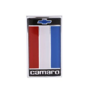 This is an image of a 1975-77 Camaro Header Panel Emblem, Red, White & Blue, GM Licensed